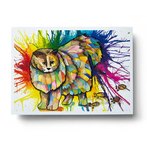 colourful rainbow watercolour cat animal wall art print