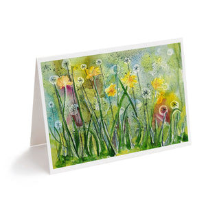 watercolour abstract dandelion clock colourful flower greeting card