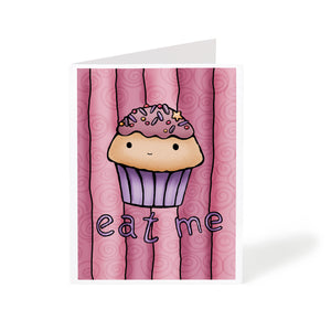 Handmade greeting card with a cute illustrated pink cupcake saying Eat Me