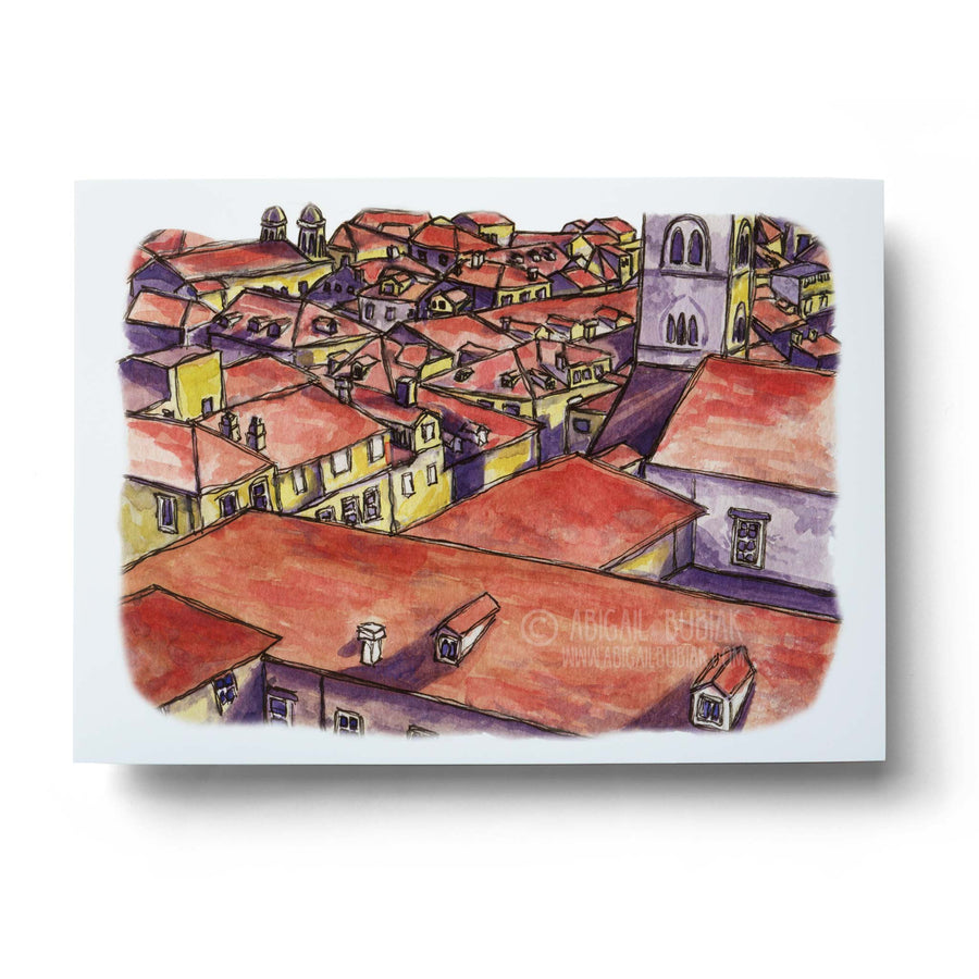 abstract european rooftops watercolour buildings wall art print