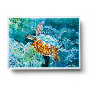 hawaiian sea turtle watercolour ocean wall art print