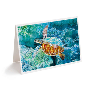 hawaiian sea turtle watercolour art greeting card
