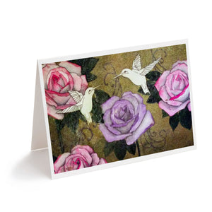 watercolour hummingbirds and pink roses art greeting card