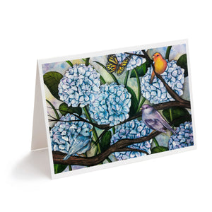 watercolour hydrangea flowers with birds art greeting card