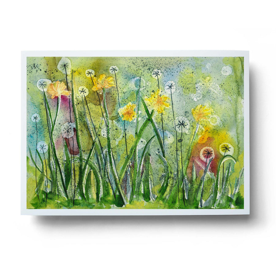 abstract dandelion clock watercolour wall art print