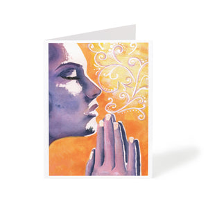 watercolour meditation art greeting card