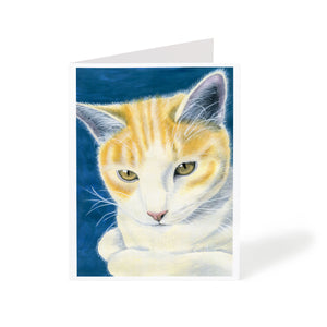 watercolour orange tabby cat animal art greeting card