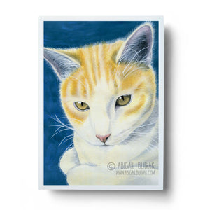 watercolour orange tabby cat wall art print