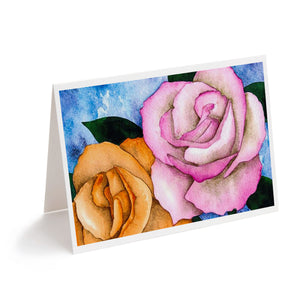 pink and orange watercolour flowers art greeting card