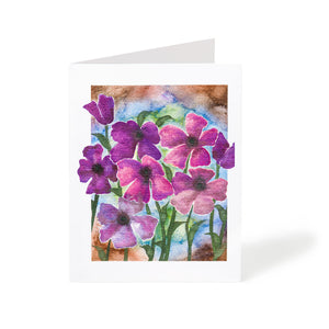 abstract pink watercolour flowers art greeting card