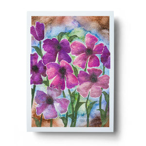 abstract pink watercolour flowers wall art print
