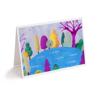 Colourful abstract pond landscape art greeting card