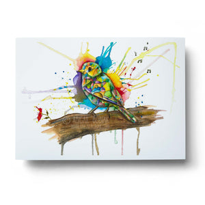 rainbow watercolour bird wall art print