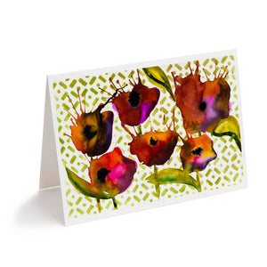 abstract watercolour flowers art greeting card