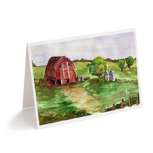 watercolour red barn farm art greeting card