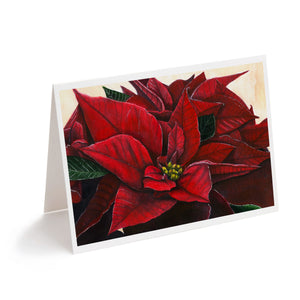 red watercolour poinsettia flower art Christmas card