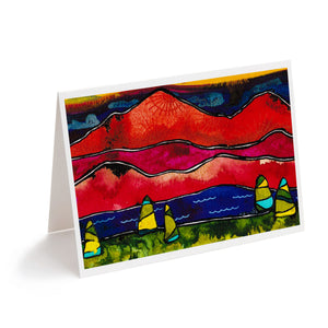 colourful watercolour abstract mountains art greeting card