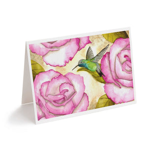 watercolour rufous hummingbird with pink flowers art greeting card