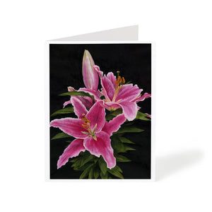 stargazer lily watercolour flower art greeting card