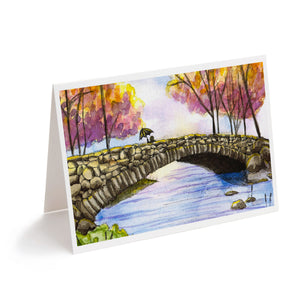colourful watercolour bridge and stream landscape art greeting card