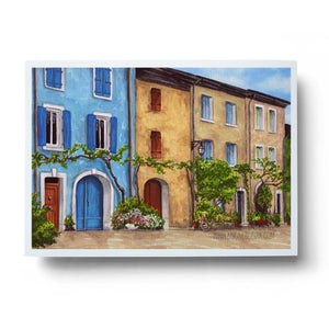 tuscan villas colourful watercolour buildings wall art print