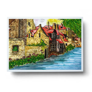 Brugge Belgium abstract watercolour wall art print