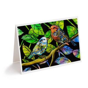 Colourful abstract painted birds watercolour art greeting card