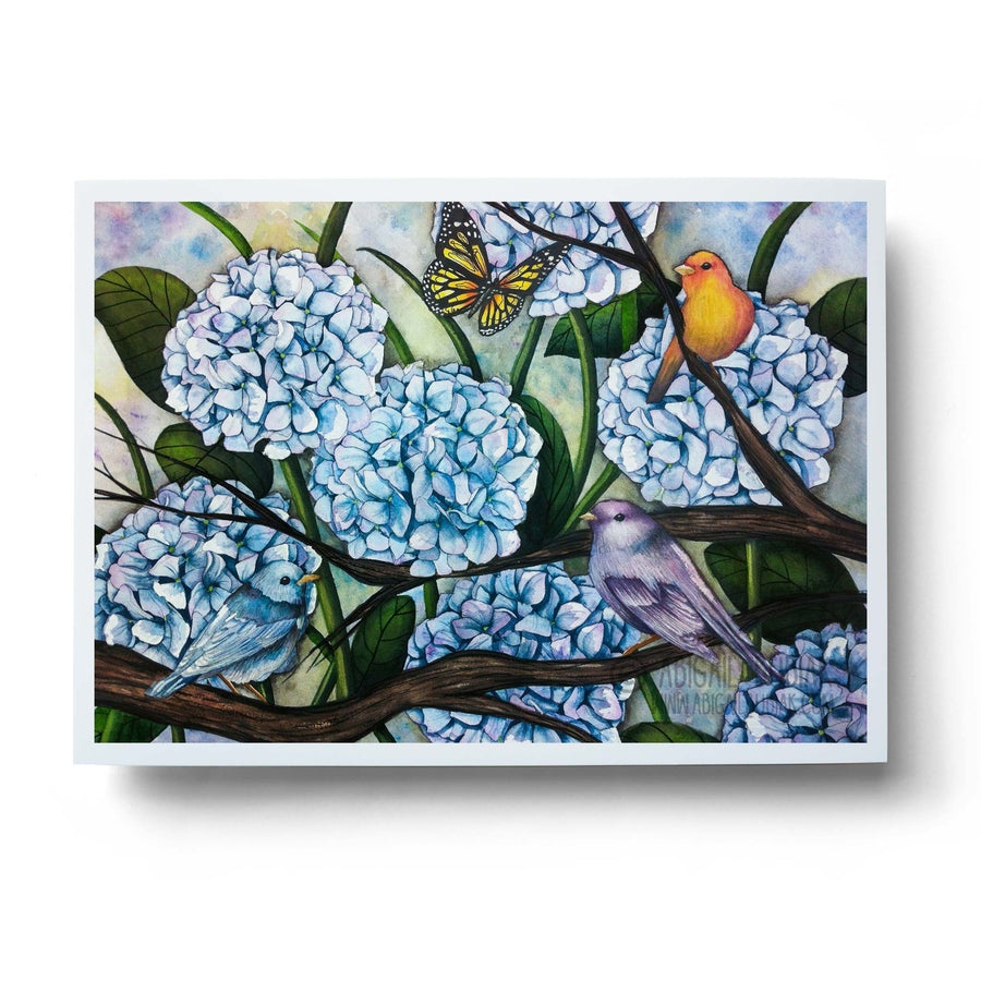 watercolour hydrangea flowers with birds and butterfly wall art print