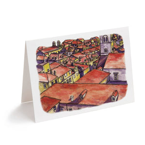 abstract european buildings watercolour art greeting card