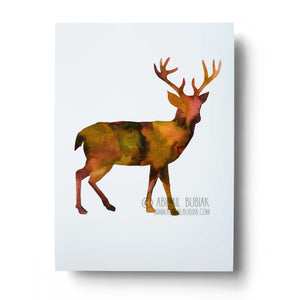 Abstract watercolour deer art print in autumn colours