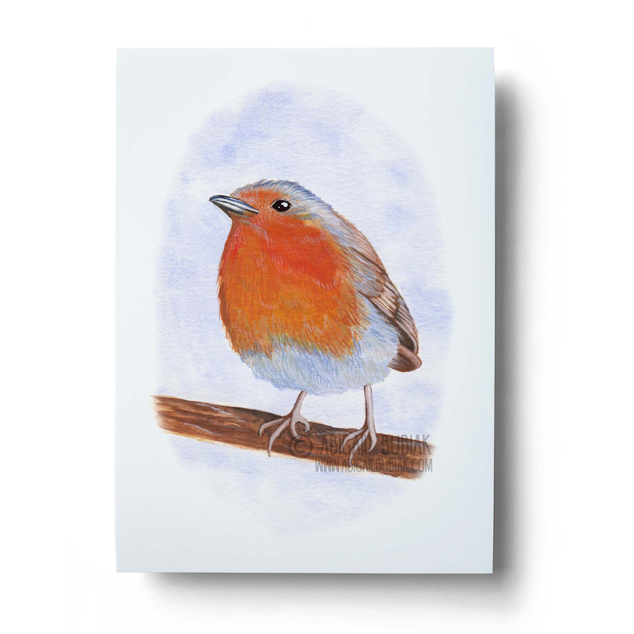 European robin watercolour wall art print