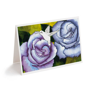 hummingbird and blue purple flowers watercolour art greeting card