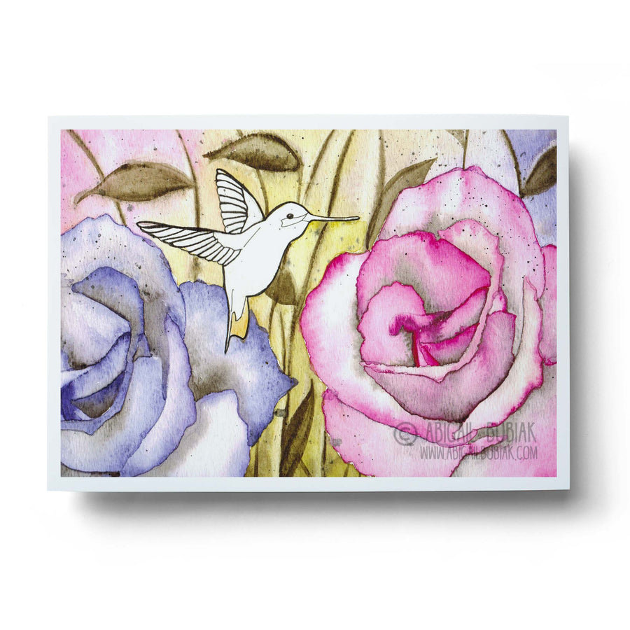 abstract watercolour hummingbird with pink flowers wall art print