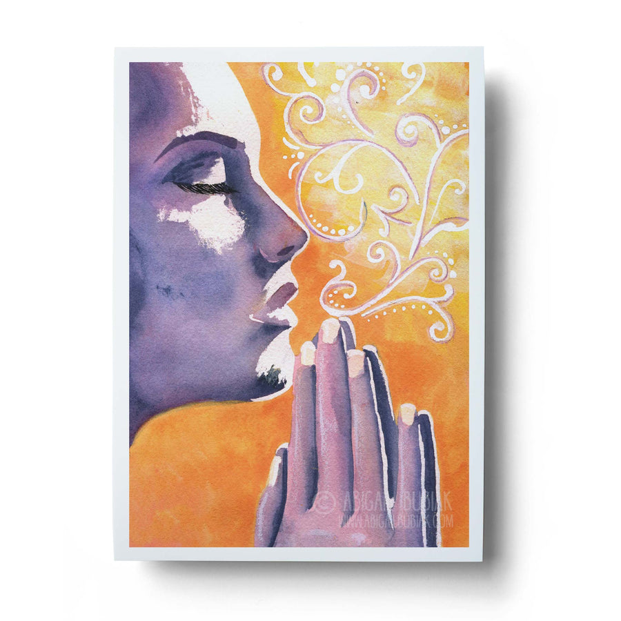 watercolour meditation wall art print