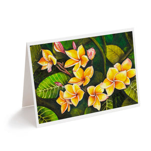 watercolour hawaiian plumeria tropical flowers art greeting card