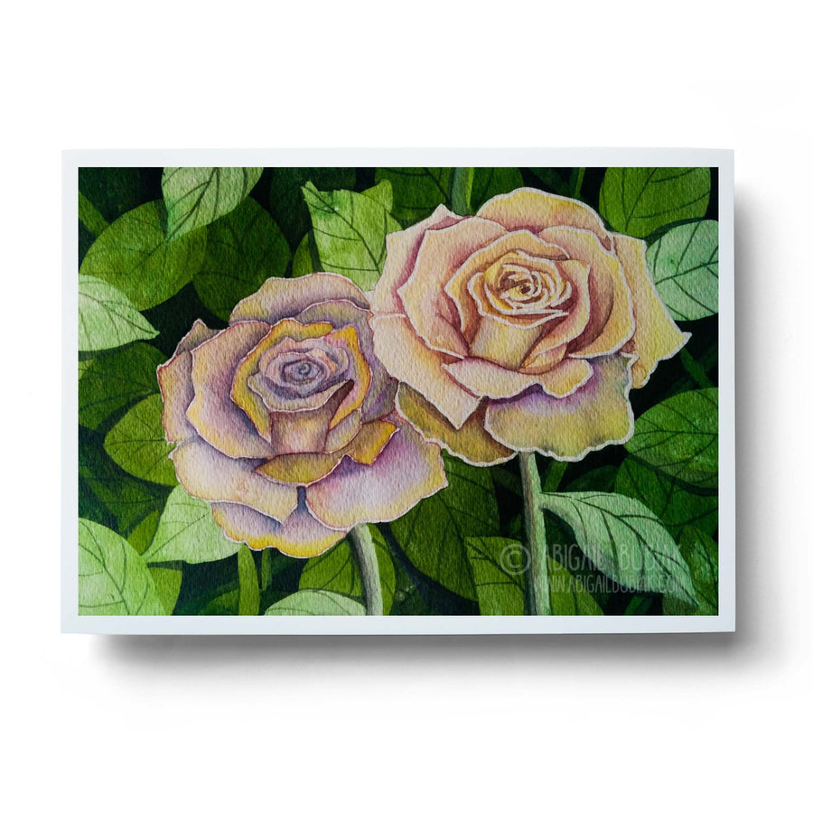 blush pink watercolour roses floral wall art print