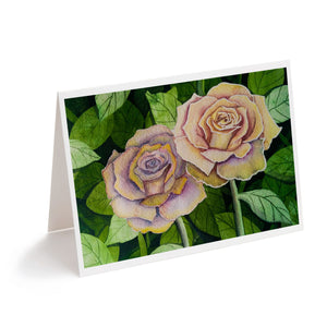 pink watercolour roses floral art greeting card