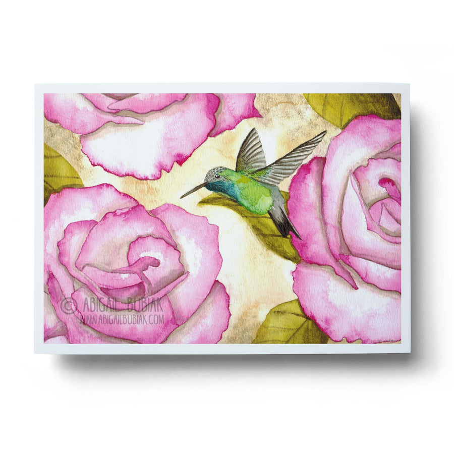 watercolour rufous hummingbird with pink flowers wall art print