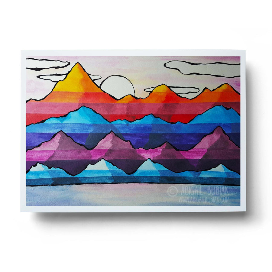 abstract watercolour mountains colourful wall art print