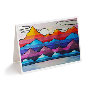 colourful abstract mountains watercolour art greeting card