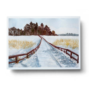 5x7 watercolour art print showing snowy winter landscape