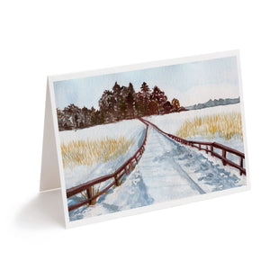 Winter snow landscape watercolour art greeting card