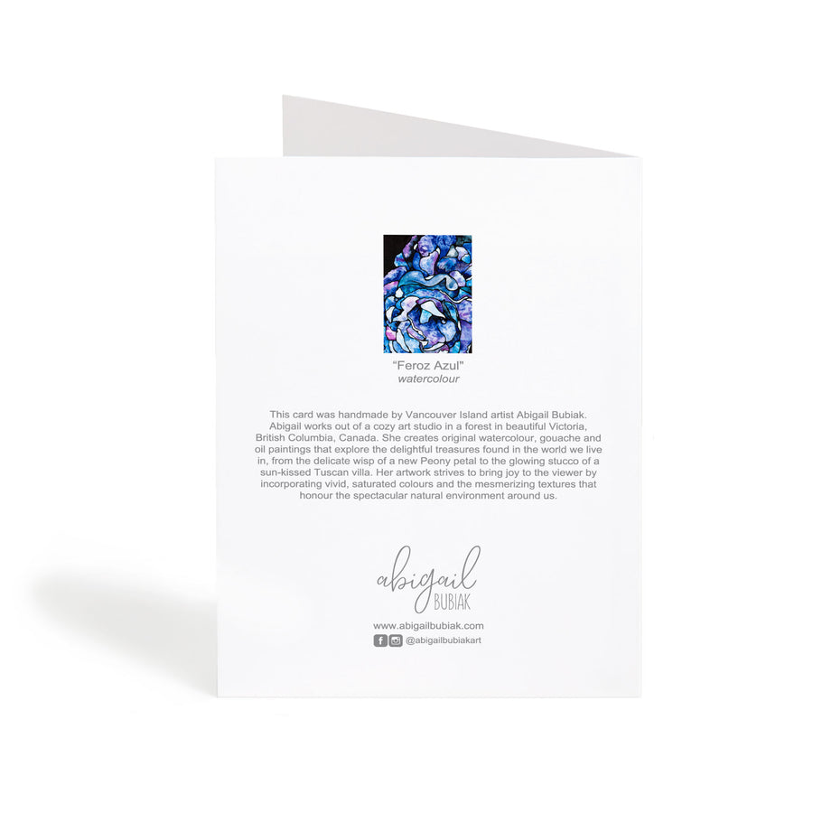 Blue abstract flowers watercolour art greeting card