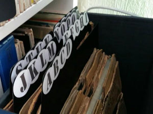 "Example of use 12"" a-z record dividers"