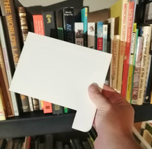 Load image into Gallery viewer, White Plastic index cards for bookshelves.