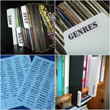 Load image into Gallery viewer, Universal Tab Labels Stickers - Genres (Music / Film / Books)