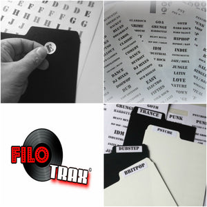 Universal Tab Labels Stickers - Genres (Music / Film / Books)