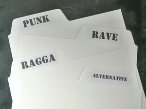 "Genre / Musical Style Stickers For 12"" Tabs"