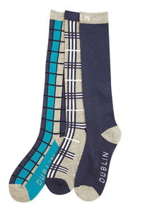 Dublin Adult Cube Check 3 Pack Socks, Socks, Dublin, One Stop Equine Shop - One Stop Equine Shop