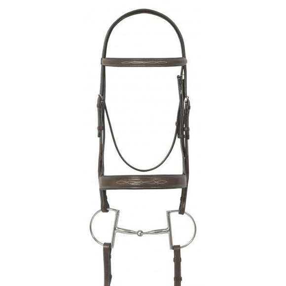 Ovation Elite Fancy Raised Traditional Crown Flat Wide Nose Padded Bridle with Fancy Raised Lace Reins